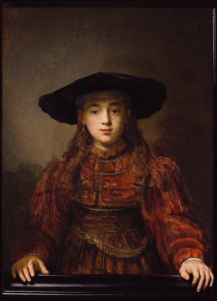 """Step in Warsaw - Przewodnik po Warszawie. """"Dziewczyna w ramie obrazu"""" Rembrandta. Źródło: https://pl.wikipedia.org/wiki/."""
