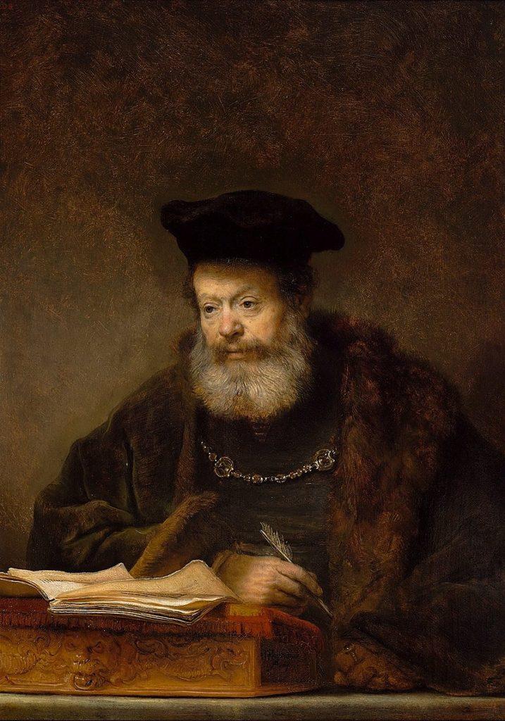 """Step in Warsaw - Przewodnik po Warszawie. """"Uczony przy pulpicie"""" Rembrandta. Źródło: https://pl.wikipedia.org/wiki/."""