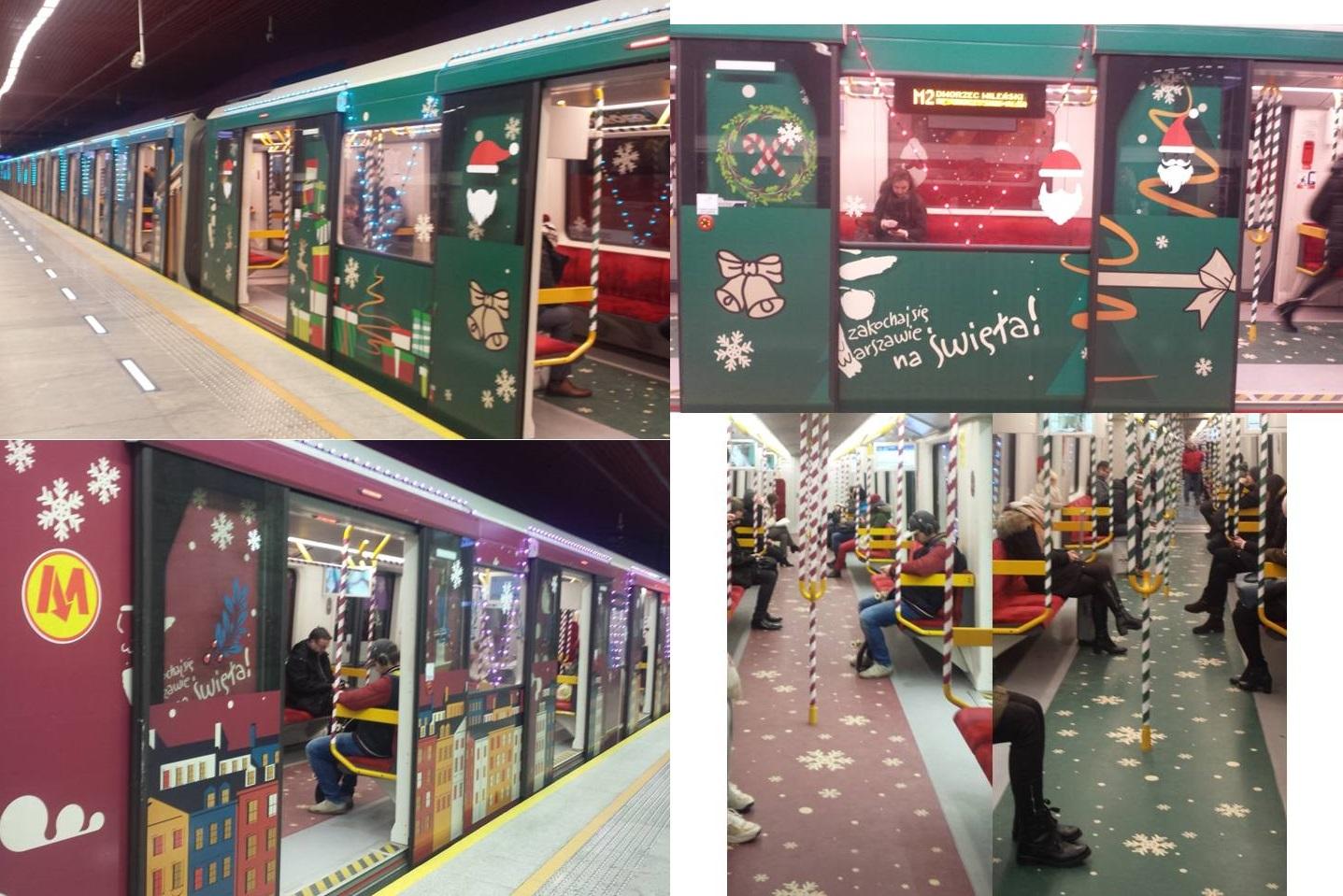 Step in Warsaw - Stadtführerin in Warschau. Das Fahren mit der Weihnachts-U-Bahn erhält meine Weihnachtsstimmung aufrecht:). Warschau, Januar 2019.