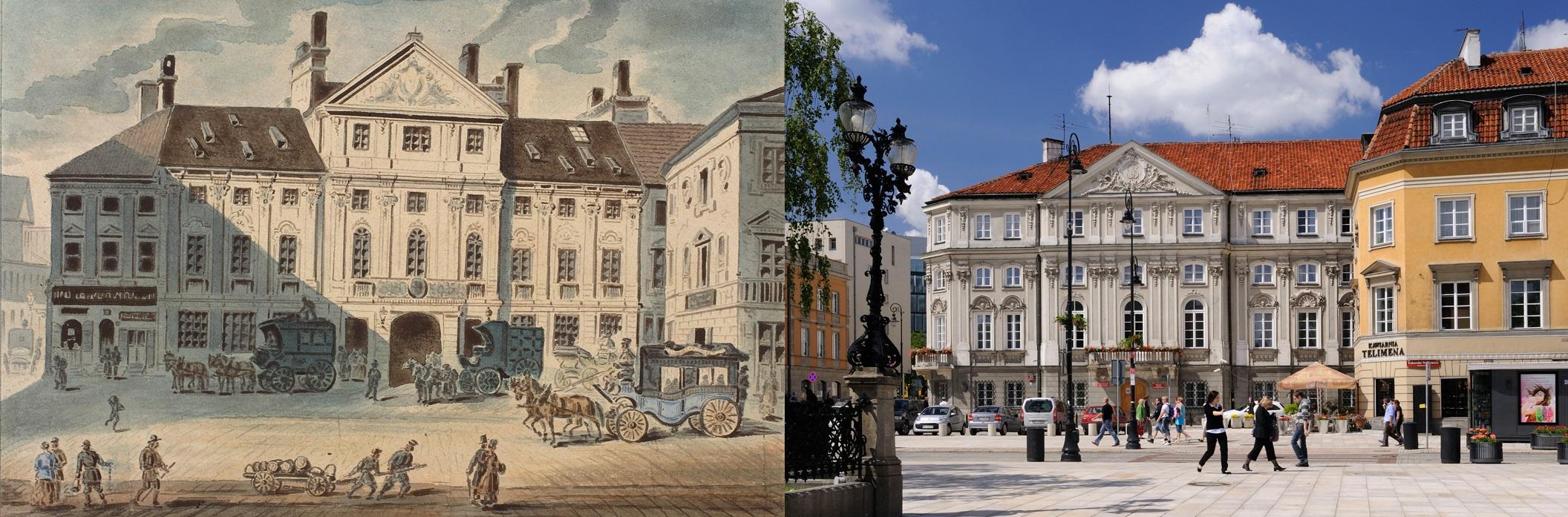 Step in Warsaw - Stadtführerin in Warschau. Der Wessel-Palast in den Zeiten von Fryderyk Chopin und jetzt (Warschau, Krakowskie Przedmieście Straße Nr 25). Damals befand sich hier das Postamt. Die Postkutsche nach Wien ging ab hier jeden Nachmittag ab. Am 2. November 1830 war Fryderyk Chopin an Bord. Quelle: http://en.chopin.warsawtour.pl/.