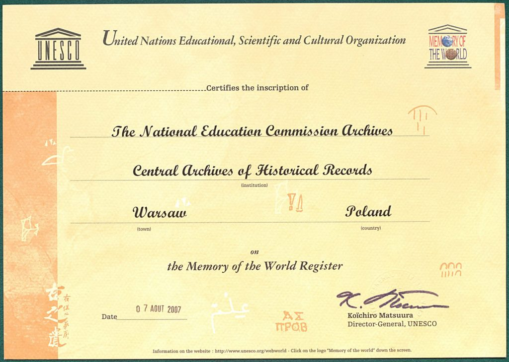 Step in Warsaw - Stadtführerin in Warschau. Das Dokument zur Aufnahme des Archives der Kommission für Nationale Bildung in das Weltdokumentenerbe der UNESCO. Quelle: das Staatsarchiv Polen https://agad.gov.pl/.