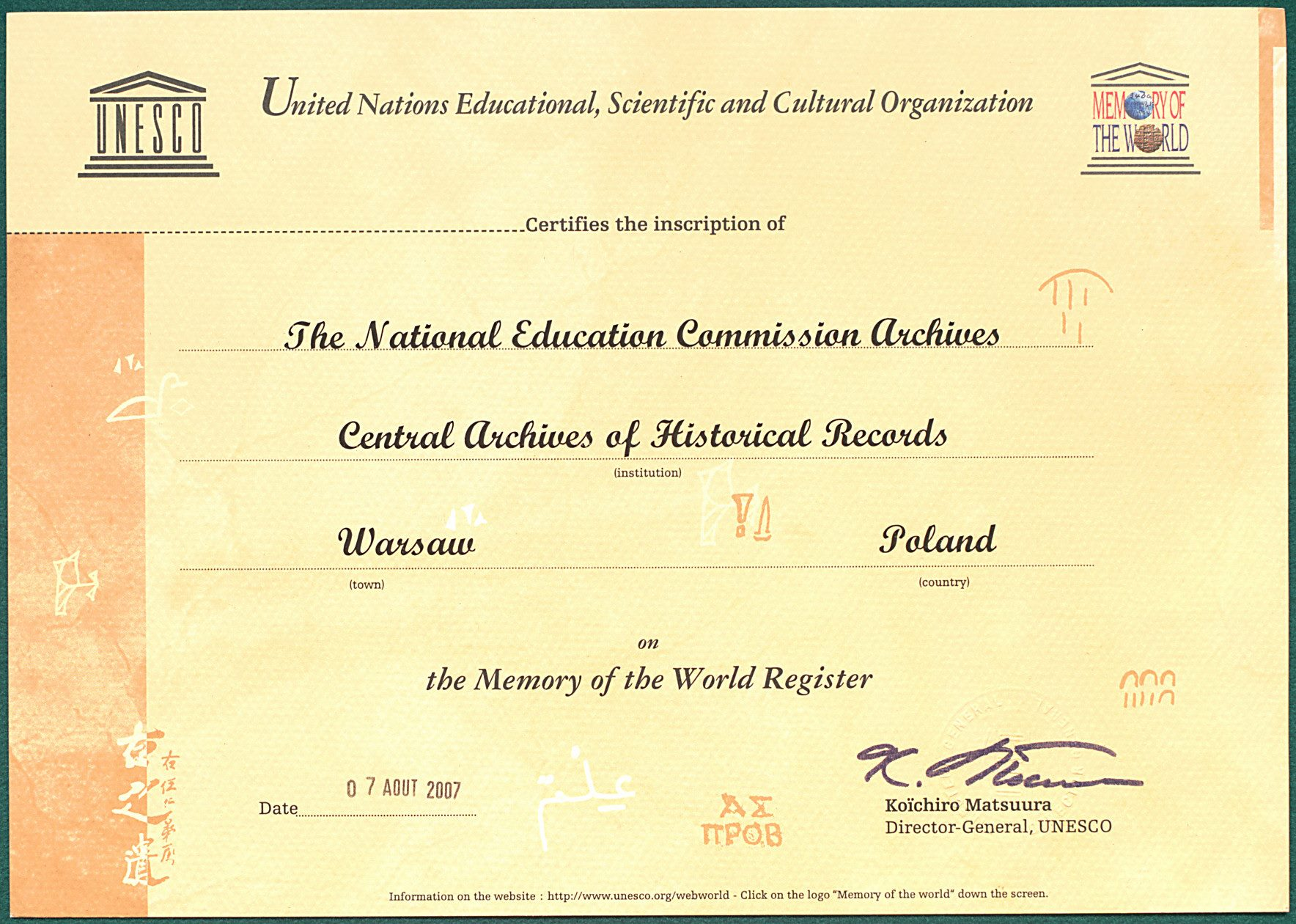 Step in Warsaw - City guide to Warsaw. The certificate of the inscription of the National Education Commission Archives on the UNESCO Memory of the World Register. Source: the State Archives of Poland https://agad.gov.pl/.