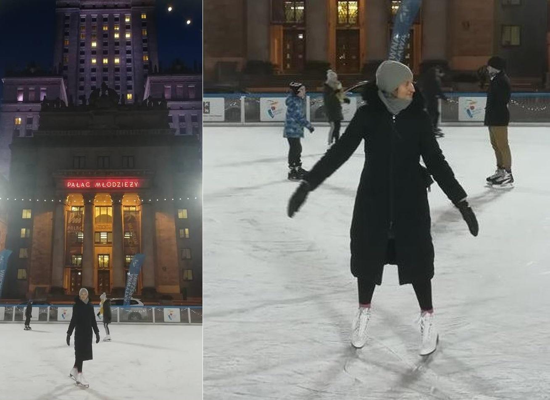 Step in Warsaw - Stadtführerin in Warschau. Verbesserung meiner Eiskunstlauffähigkeiten im Takt der Tanzmusik. Die Eislaufbahn am Kultur-und Wissenschaftspalast, das Eislaufen ist kostenlos und täglich von 10 bis 21 Uhr mit einer technischen Pause alle 3 Stunden. Empfehlenswert! Sie sind eingeladen! Warschau, Januar 2019.