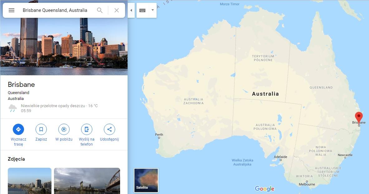 Step in Warsaw - Stadtführerin in Warschau. Brisbane auf der Karte von Australien.