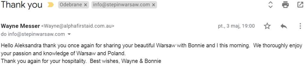 Step in Warsaw – Przewodnik po Warszawie. Turyści z Brisbane (Australia).