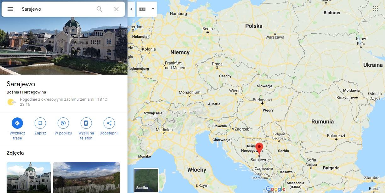 Step in Warsaw - Stadtführerin in Warschau. Sarajevo auf der Karte von Europa.