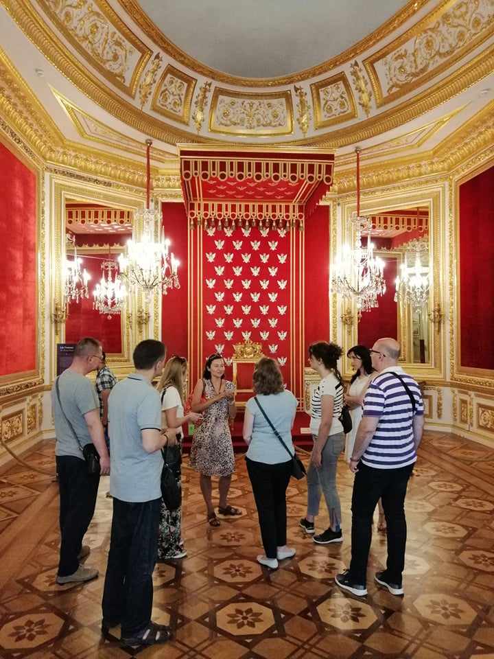 "Step in Warsaw - City guide to Warsaw. My tourists from Bosnia and Herzegovina from Sarajevo came to Warsaw to take part in the International Cardiovascular Symposium on: ""Cardiac & Vascular Disease: present and future"". It was then very hot and very nice. We took some rest from the heat in the Royal Castle. In the Throne Room. Warsaw, 13.06.2019."