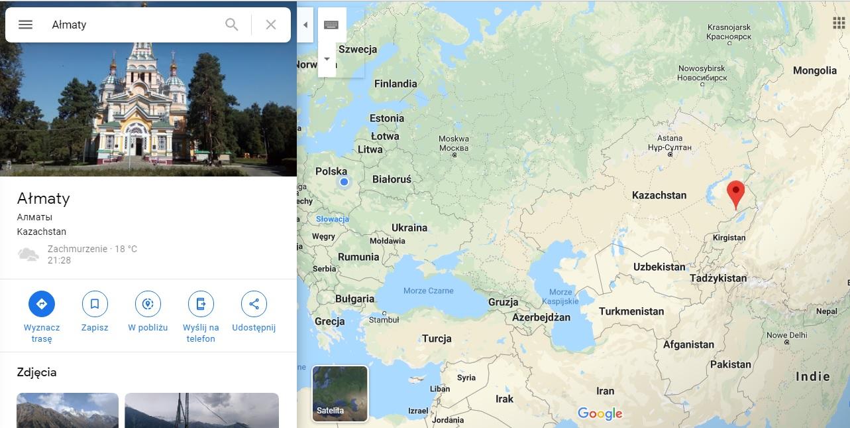 Step in Warsaw - Stadtführerin in Warschau. Almaty auf der Karte von Asien.