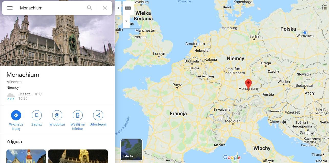Step in Warsaw - Stadtführerin in Warschau. München auf der Karte von Europa.