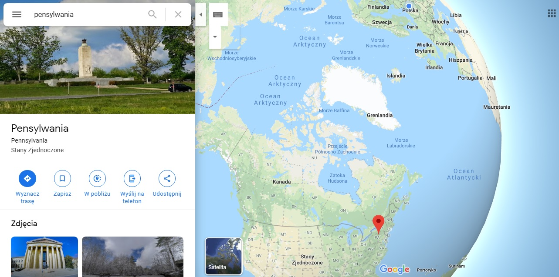 Step in Warsaw - Stadtführerin in Warschau. Pennsylvania auf der Karte von Nordamerika.