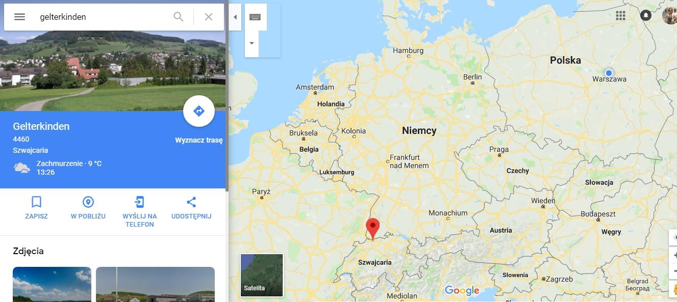 Step in Warsaw - Stadtführerin in Warschau. Gelterkinden auf der Karte Europas.