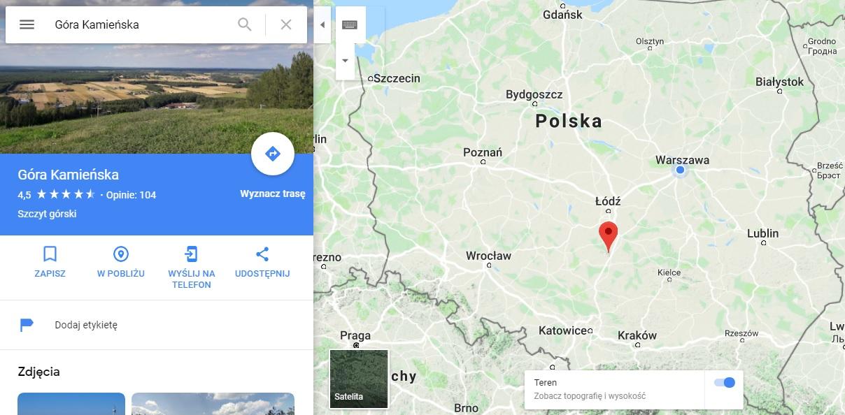 Step in Warsaw - Stadtführerin in Warschau. Der Berg Kamieńska auf der Karte von Polen.