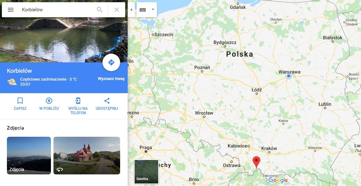 Step in Warsaw - Stadtführerin in Warschau. Korbielów auf der Karte von Polen.