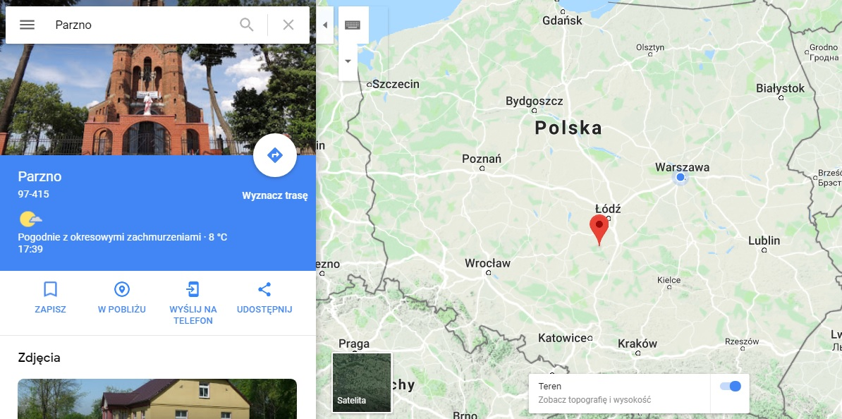 Step in Warsaw - Przewodnik po Warszawie. Parzno na mapie Polski.