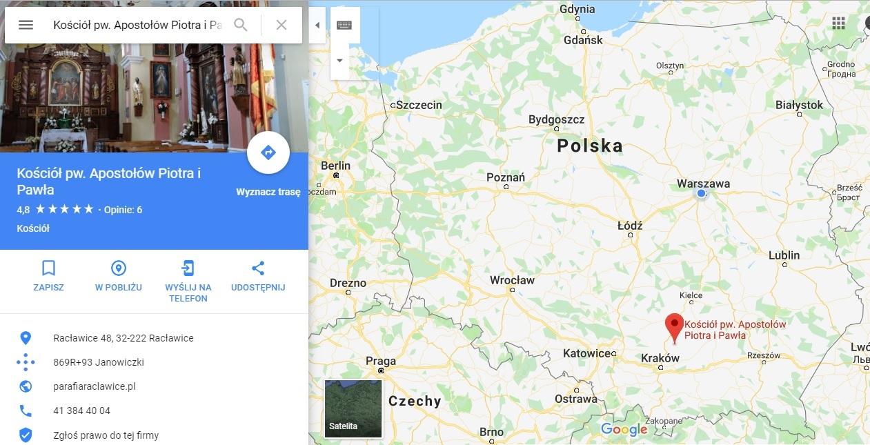 Step in Warsaw - Stadtführerin in Warschau. Racławice auf der Karte von Polen.