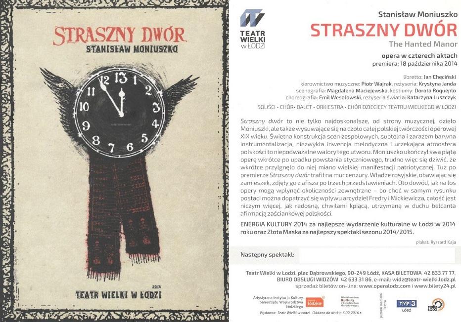"""Step in Warsaw - Stadtführerin in Warschau. """"Das Gespensterschloss"""", eine Oper von Stanisław Moniuszko inszeniert von der bekannten polnischen Schauspielerin Krystyna Janda in dem Großen Theater in Łódź. Łódź, Februar 2018."""