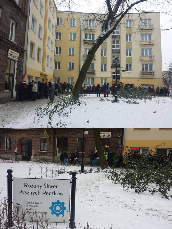 """Step in Warsaw - Stadtführerin in Warschau. Die sehr lange Schlange am Schmotzigen Donnerstag vor der besten Konditorei in Warschau, der Konditorei """"Zagoździński"""". Warschau, Februar 2018."""