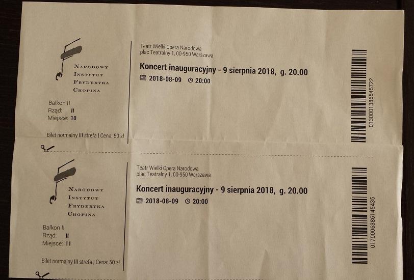 """Step in Warsaw - Stadtführerin in Warschau. Eintrittskarten zum symphonischen Eröffnungskonzert vom 14. Internationalen Musikfestival """"Chopin und sein Europa 2018 - Von Chopin zu Paderewski"""". Großes Theater - Nationaloper. Warschau, 09.08.2018."""