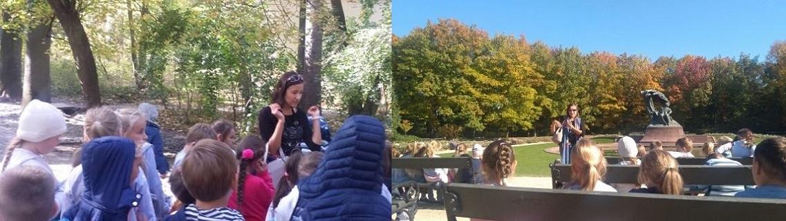 Step in Warsaw - Stadtführerin in Warschau. Meine Schulgruppe aus Wadlew hatte Glück, den Park der Bäder an so einem schönen Herbsttag zu besichtigen. Warschau, Oktober 2018.