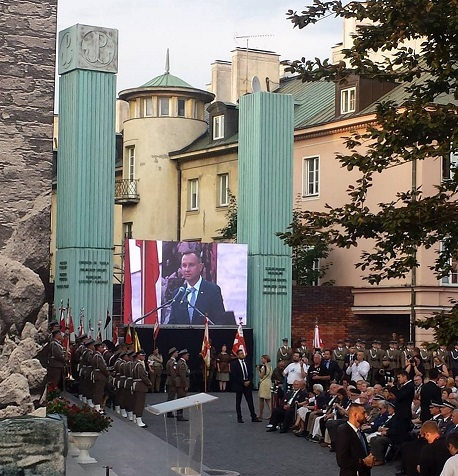 Step in Warsaw - City guide to Warsaw. The 74th anniversary of the Warsaw Uprising. The Holy Mass with the full military assistance celebrated by the military bishop of the Polish Armed Forces at the Warsaw Uprising monument in the Krasiński Square. The speech of the president of Poland Andrzej Duda. Warsaw, 31.07.2018.