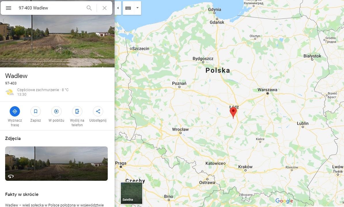 Step in Warsaw - Przewodnik po Warszawie. Wadlew na mapie Polski.